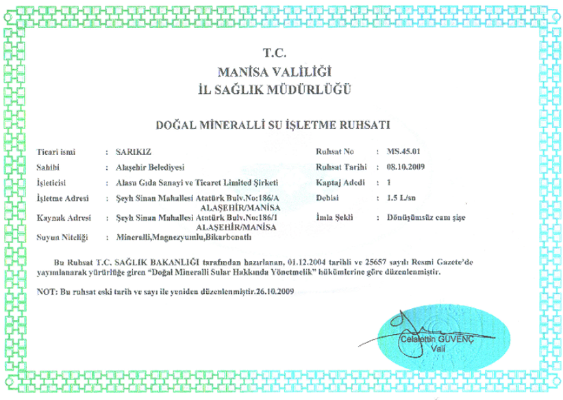 Natural Mineral Water Analysis certificate