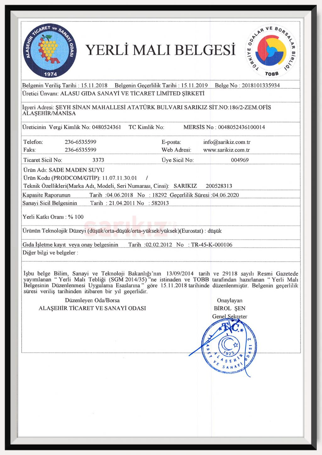 Plain Mineral Water Domestic Goods Certificate